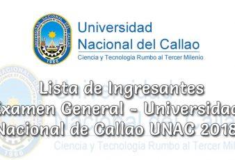Ingresantes Examen General Universidad Nacional de Callao UNAC