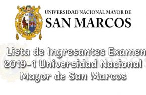 Lista de Ingresantes Examen UNMSM 2019-1