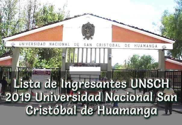Lista de Ingresnates UNSCH 2019