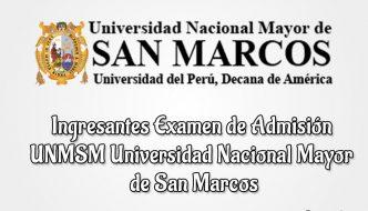Ingresantes Examen de admisión San Marcos