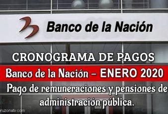 Banco de la nación cronograma de pagos mes de enero 2020