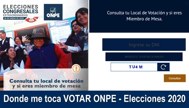 Donde me toca VOTAR ONPE - Elecciones 26 Enero 2020
