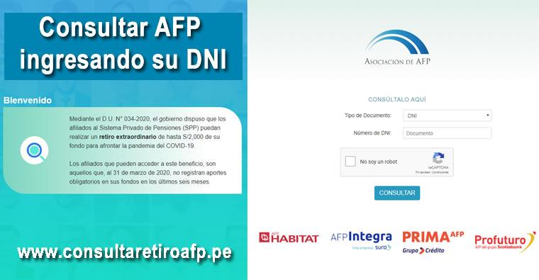 Consultar AFP Ingresando su DNI en www.consultaretiroafp.pe