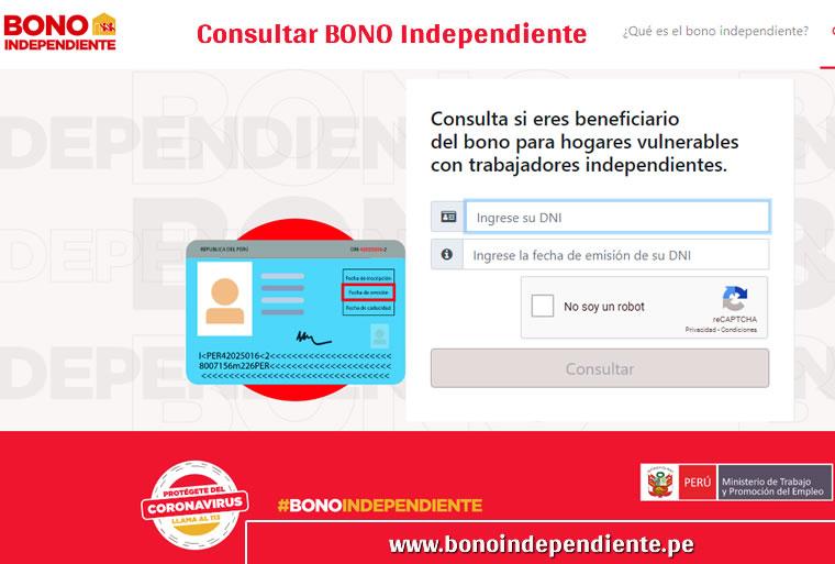 Consultar con DNI bono independiente 380 Soles