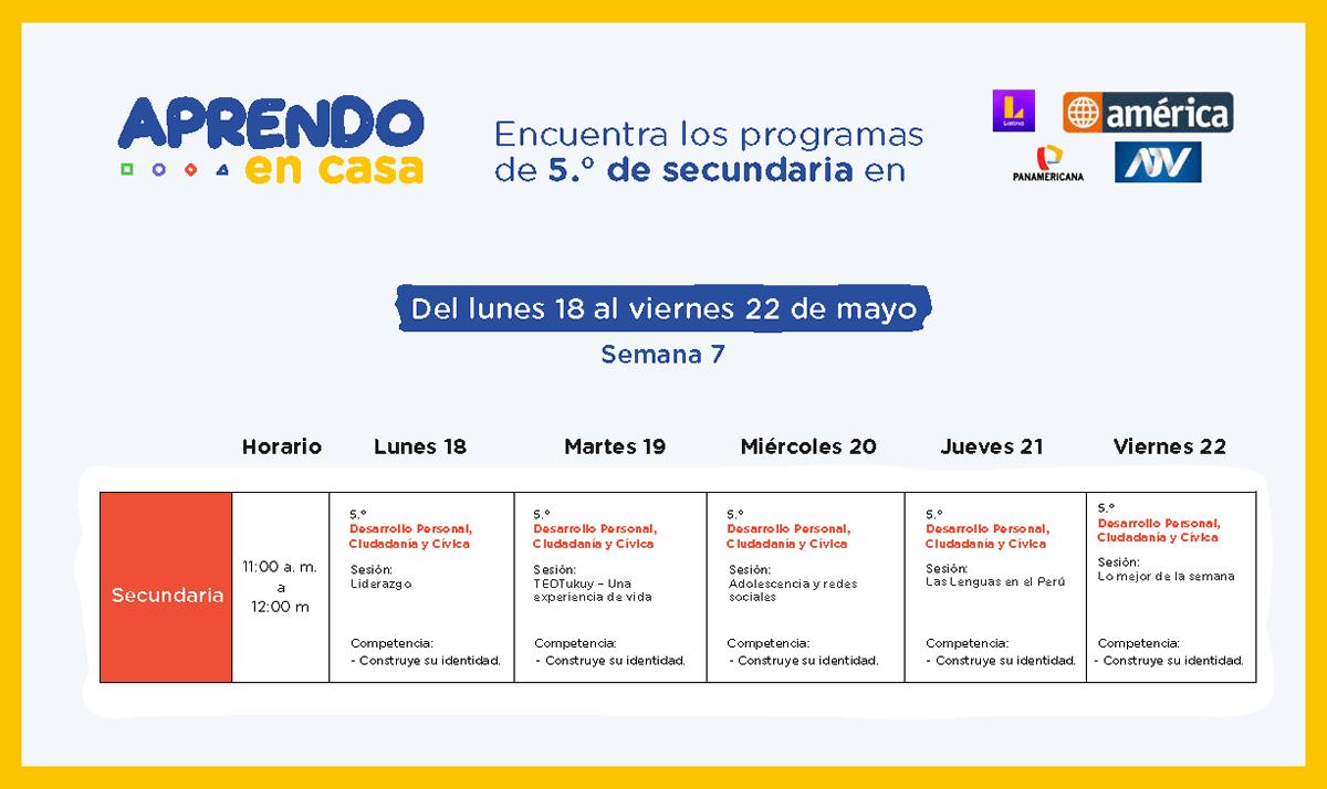 Programacion Semana 7 Aprendoencasa por América Latina Atv