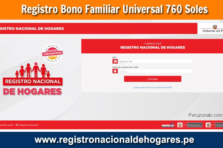 Registro para acceder al BONO Universal Familiar 760 Soles