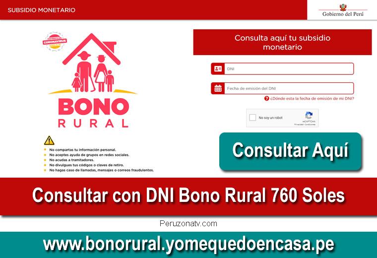 Verificar con DNI Bono Rural 760 Soles