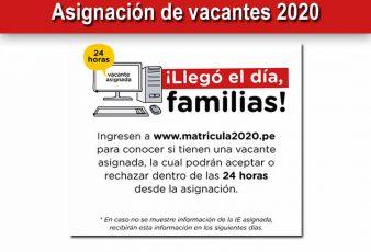 MINEDU Aceptar Asignación de vacantes 2020