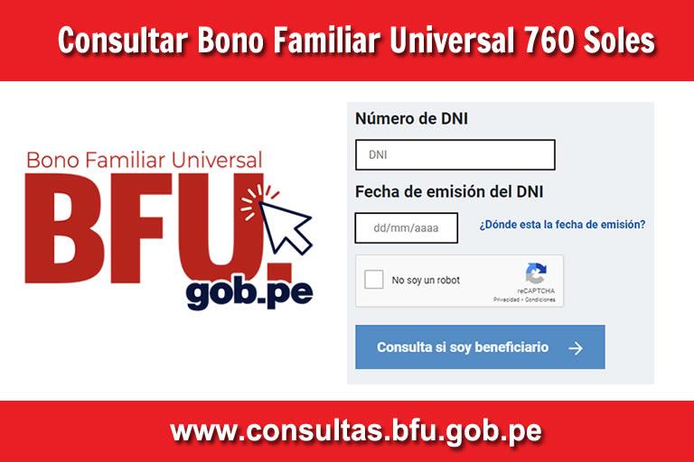 Consultar con DNI BONO Familiar Universal 760 Soles